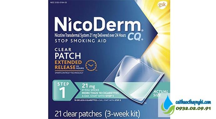 miếng dán cai thuốc lá nicoderm cq