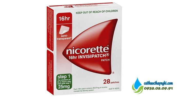 Miếng dán cai thuốc lá Nicorette Invispatch 25mg