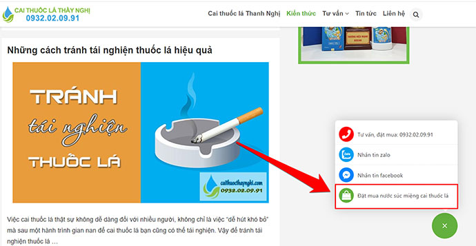 hướng dẫn đặt mua thuốc cai thuốc lá thanh nghị